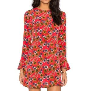 NWT WAYF red floral daisy tie back dress,S